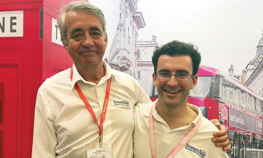 Stephen Jones, left, and his distributor Alexander MacDonald at SIAL food show in Shanghai