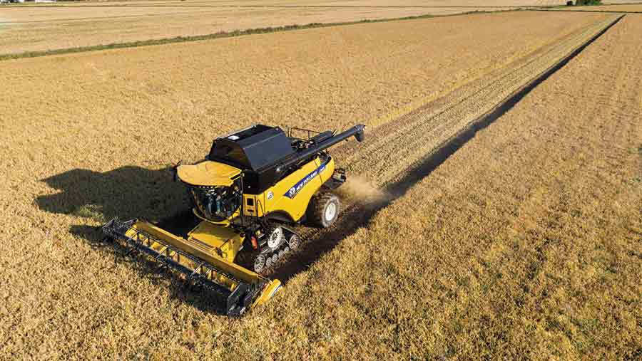 New Holland combine in action