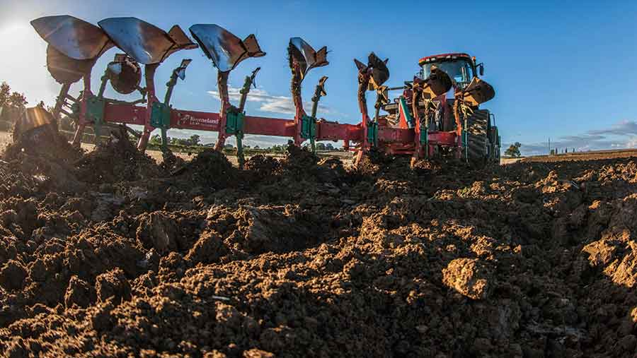 ploughing stubble