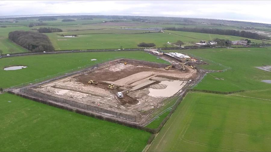 Aerial view of fracking site