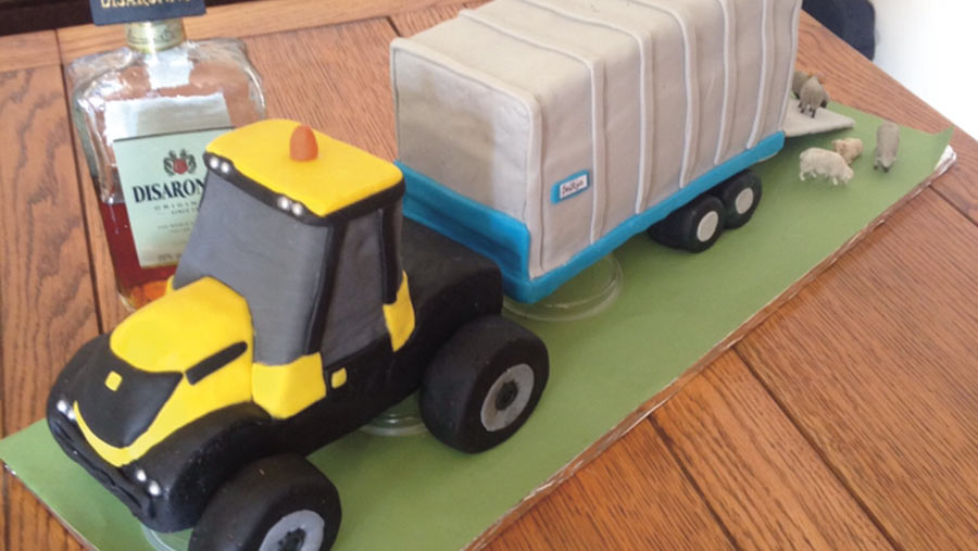 tractor cake by Sally Griffiths