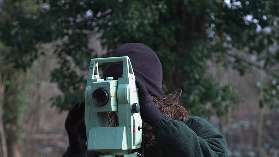 Surveyor in the countryside
