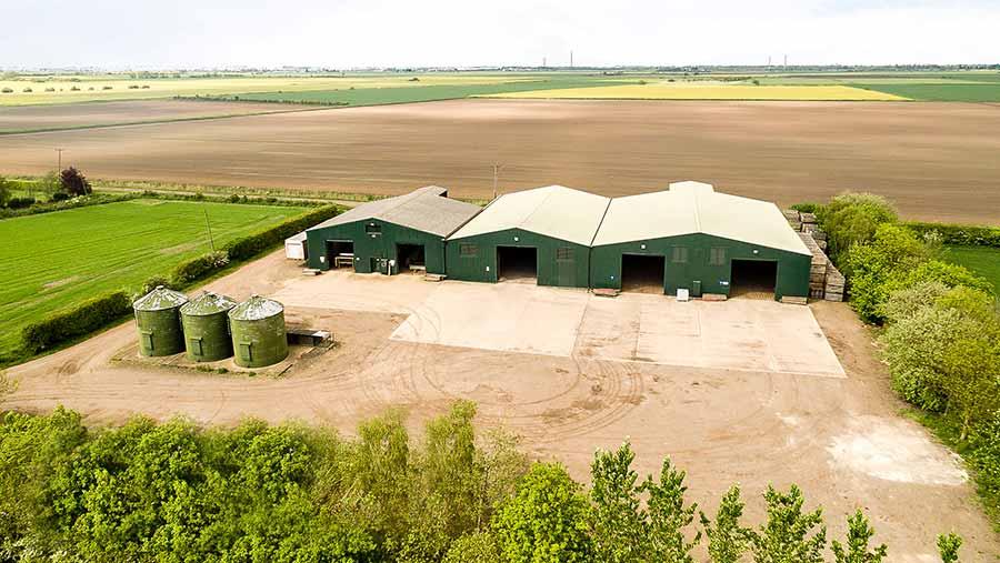 An aerial shot of Farcet Farm