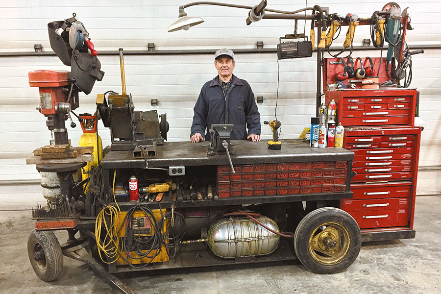 Glen Wasmuth with his mobile workshop