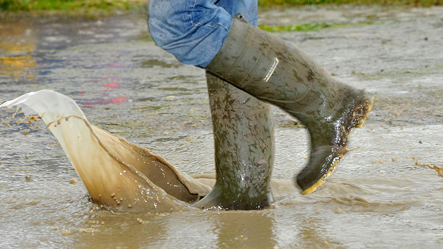Wellington boots in river