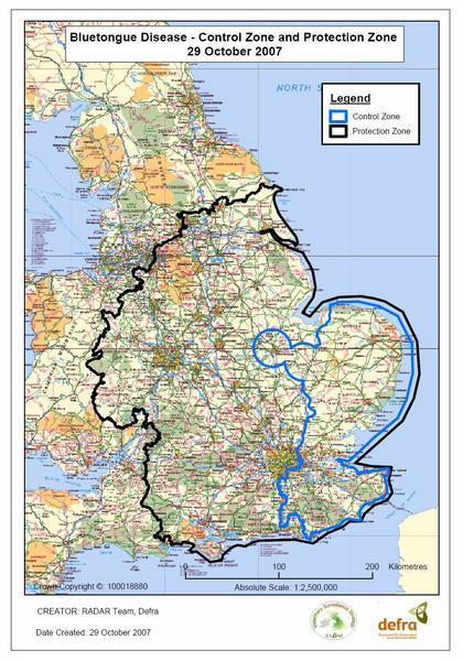 bluetongue defra map