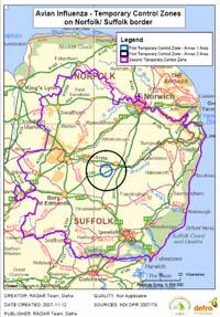 Redgrave avian flu outbreak map