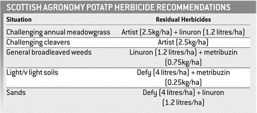 potato herbicide table