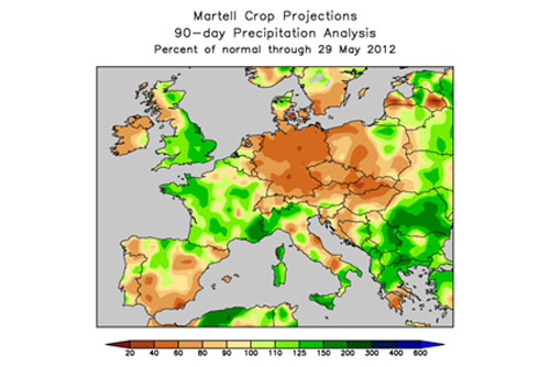 Europe rainfall map