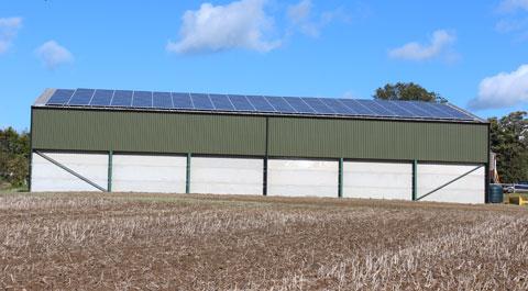 Solar panels on grain store