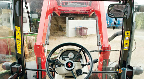 An optional roof window is essential if you want to be able to see the loader