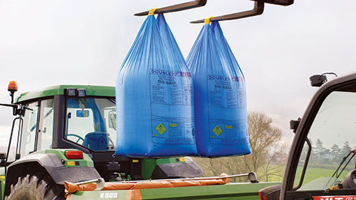 Fertiliser bags being loaded