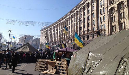 Protesters near Ministry of Agriculture, Kiev