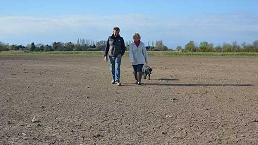 Dan Graham and Rebecca Horsington walk across a flood-ruined field of winter wheat.