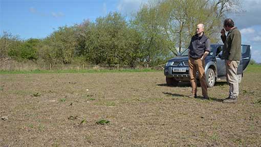 James Winslade and agronomist Stuart Fripp discuss grassland reseeding options.