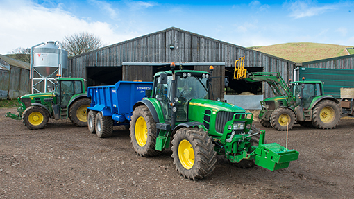 The farm's trio of John Deere 6930s