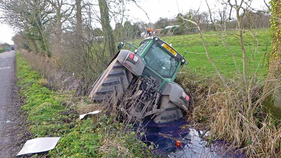 Tractor in ditch